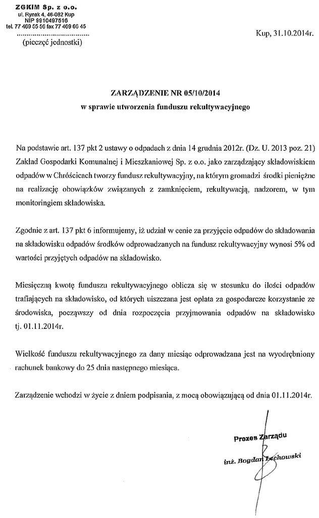 Zarządzenie nr 05.10.2014 dot. funduszu rekultywacyjnego.jpeg
