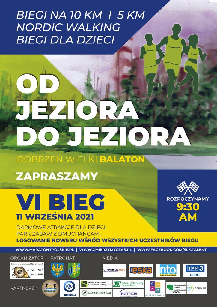 """Obrazek przedstawia plakat zapraszający na zawody sportowe pod tytułem: """"VI bieg od jeziora do jeziora"""". Data zawodów 11 września 2021 roku."""